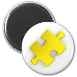 3D Puzzle Piece (Metallic Gold) 6 Cm Round Magnet