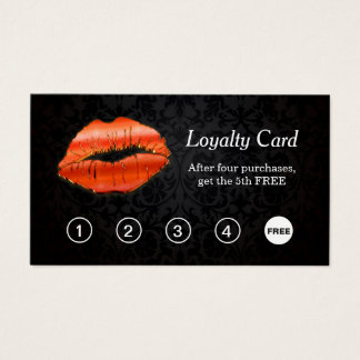 3D Red Lips Makeup Salon Loyalty Punch Card