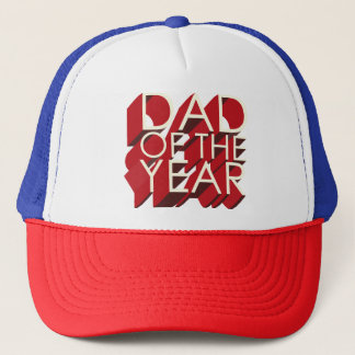 3D Red Shadow Dad of the Year Trucker Hat