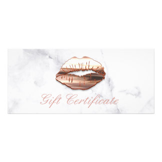 3D Rose Gold Lips Beauty Salon Gift Certificate