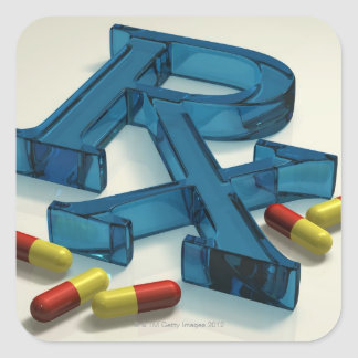 3D RX symbol with capsules Square Sticker