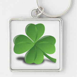 3D Shamrock/Clover Silver-Colored Square Key Ring