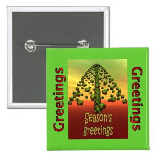 3D shining green tree Buttons