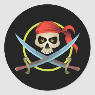 3D Skull and Crossbones Classic Round Sticker