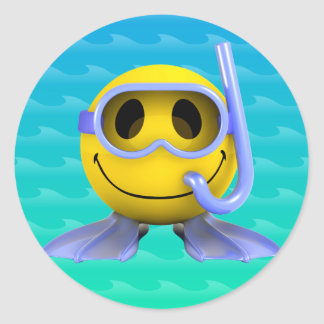 3d Smiley Scuba diver Classic Round Sticker