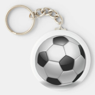 3D Soccer Football Basic Round Button Key Ring