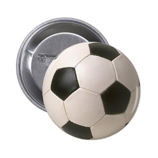 3D Soccerball Black White Football 6 Cm Round Badge