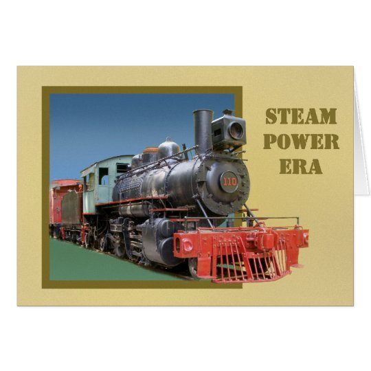 3D steam locomotive greeting card