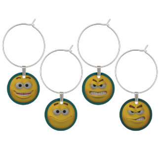 3D Style Emoticons Wine Charm