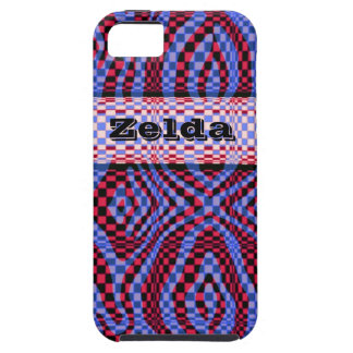 3D style red and purple crazy check iphone case iPhone 5 Cases