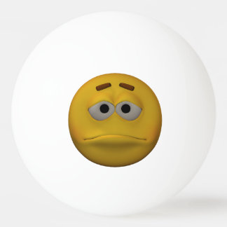 3D Style Sad Emoticon Ping Pong Ball