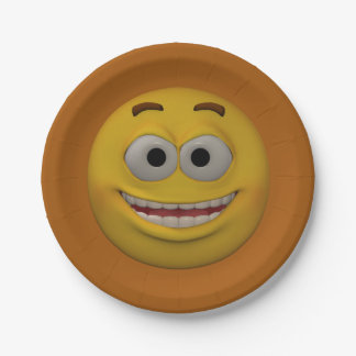 3D Style Smiley 3 7 Inch Paper Plate