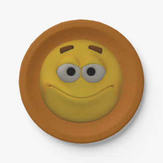 3D Style Smiley 4 Paper Plate