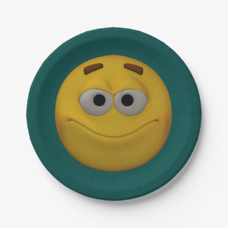 3D Style Smiley 7 Inch Paper Plate