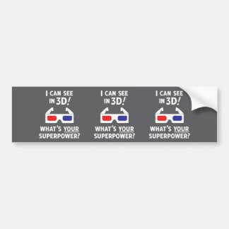 3D Superpower Bumper Sticker