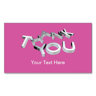 3D Thank You Pink Custom Magnetic Cards Pack 25 Magnetic Business Cards