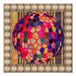 3D Three Dimensional Stained Glass Ball Poster