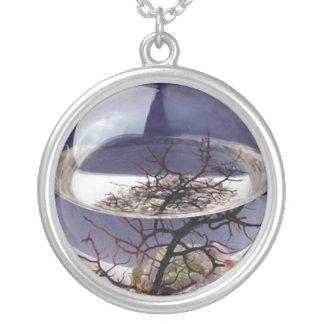 3d tree round pendant necklace