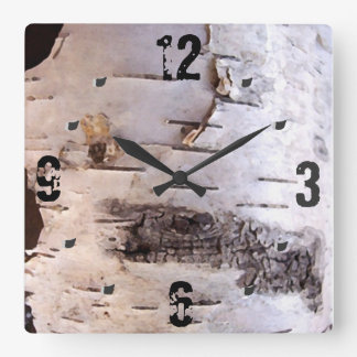 3D White Birch Bark Square Wall Clock