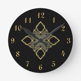 3D Wire Look Gold Diamond with Blue Center Clocks