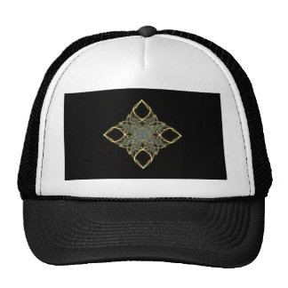 3D Wire Look Gold Diamond with Blue Center Hat