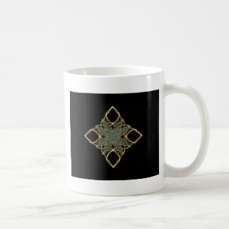 3D Wire Look Gold Diamond with Blue Center Mugs