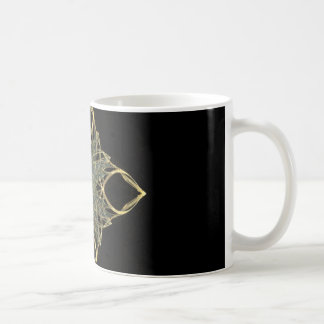 3D Wire Look Gold Diamond with Blue Center Coffee Mugs