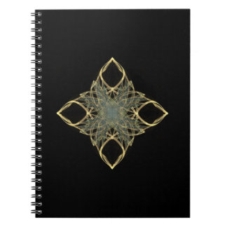 3D Wire Look Gold Diamond with Blue Center Notebook