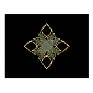 3D Wire Look Gold Diamond with Blue Center Postcard
