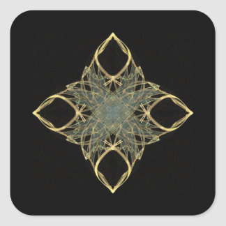 3D Wire Look Gold Diamond with Blue Center Square Sticker