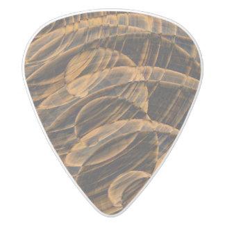 3D Wood Swirl White Delrin Guitar Pick