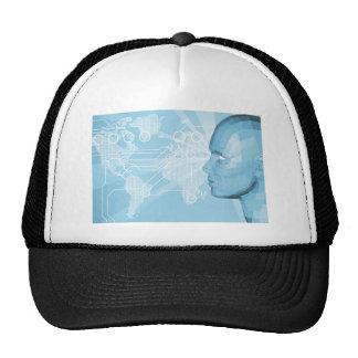 3D word communication background Hat