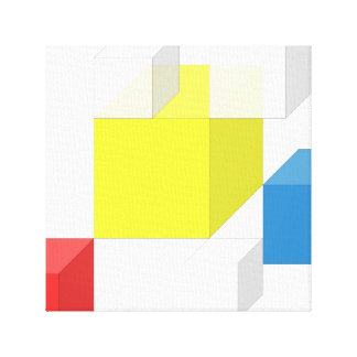 3D Yellow Red Colorful Square Brick Block Canvas Gallery Wrap Canvas