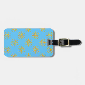 3D Yellow Sun Drawing Pattern Luggage Tag