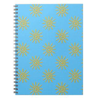 3D Yellow Sun Drawing Pattern Notebook