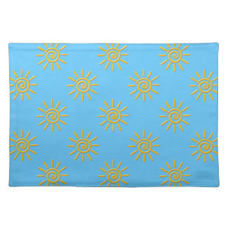 3D Yellow Sun Drawing Pattern Placemat