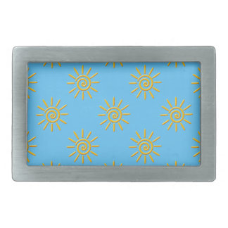 3D Yellow Sun Drawing Pattern Rectangular Belt Buckle