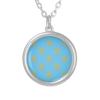 3D Yellow Sun Drawing Pattern Silver Plated Necklace