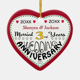 3rd Anniversary Gift Heart Shaped Christmas Ceramic Heart Decoration