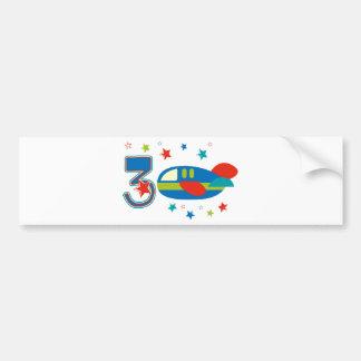 3rd Birthday Airplane Bumper Sticker