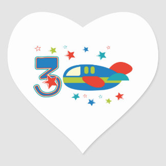 3rd Birthday Airplane Heart Stickers
