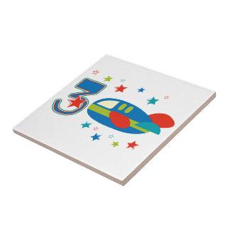 3rd Birthday Airplane Tile