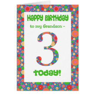 3rd Birthday Card for Grandson, Bright and Bubbly