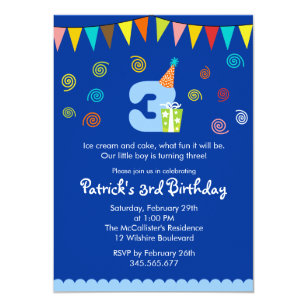 3rd Birthday Childrens Party Invitation