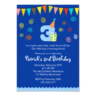 3rd Birthday Children's Party Invitation