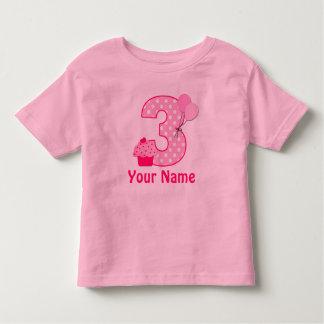 3rd Birthday Cupcake Girls Personalized Shirt