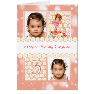 3rd birthday customizable photo greeting card