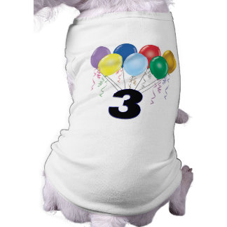 3rd Birthday Dog T-Shirt with Balloons