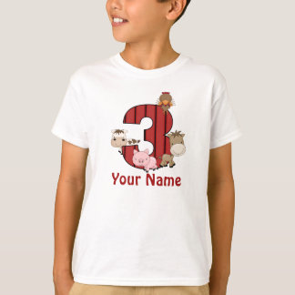 3rd Birthday Farm Animals Personalized Shirt
