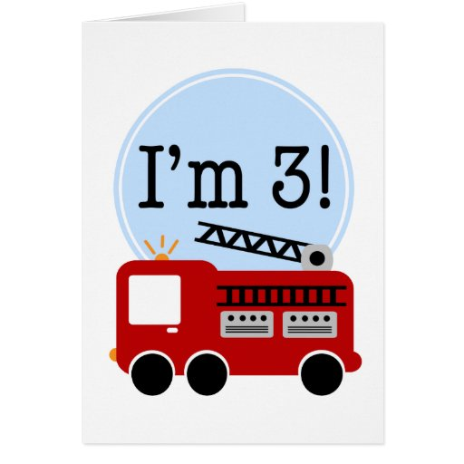 3rd Birthday Fire Truck Greeting Cards